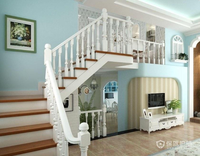 地中海風格復式弧型樓梯裝修效果圖