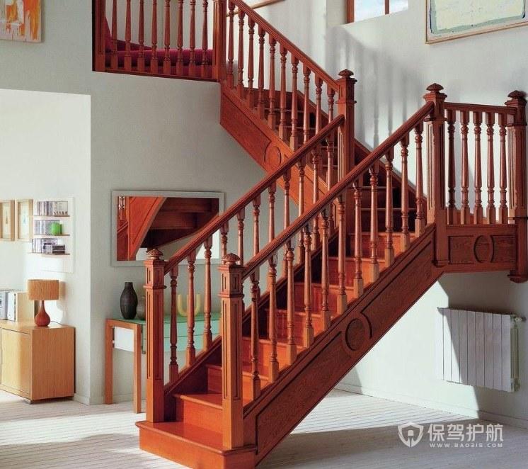 中式風格復式L型實木樓梯裝修效果圖