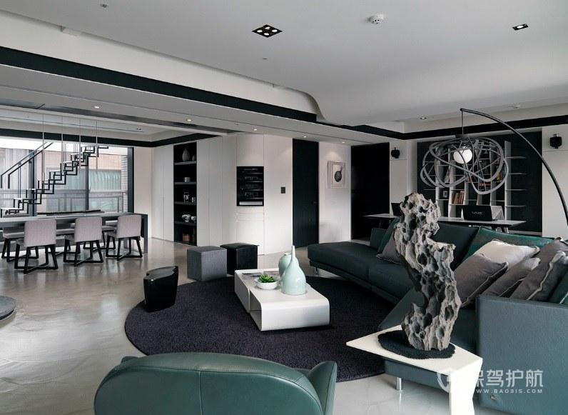 Loft簡歐輕奢風墨綠色沙發裝修效果圖