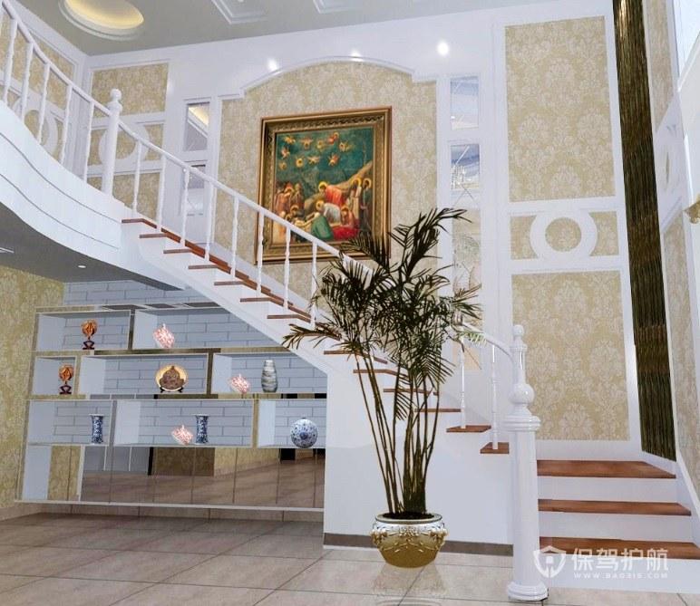 東南亞風格別墅樓梯墻面裝修效果圖