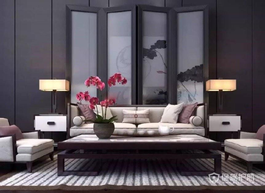 新中式風客廳屏風背景墻裝修效果圖