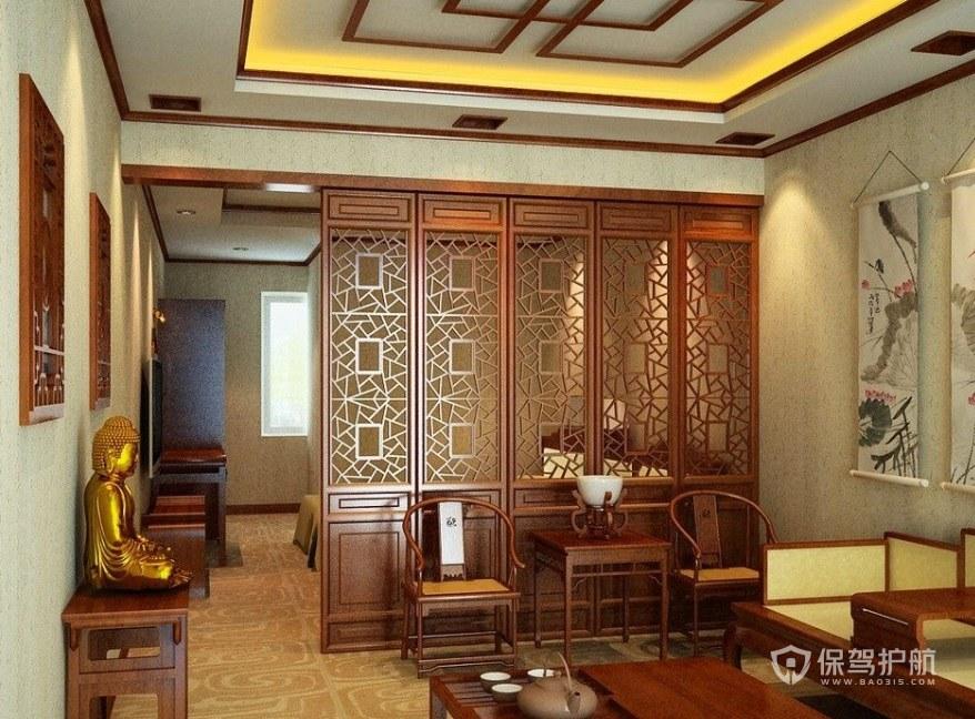 中式客廳屏風隔斷設計裝修效果圖