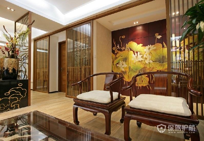 中式古典風客廳屏風裝飾裝修效果圖