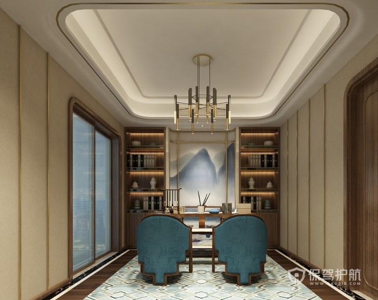 新中式會客廳書架背景墻裝修效果圖