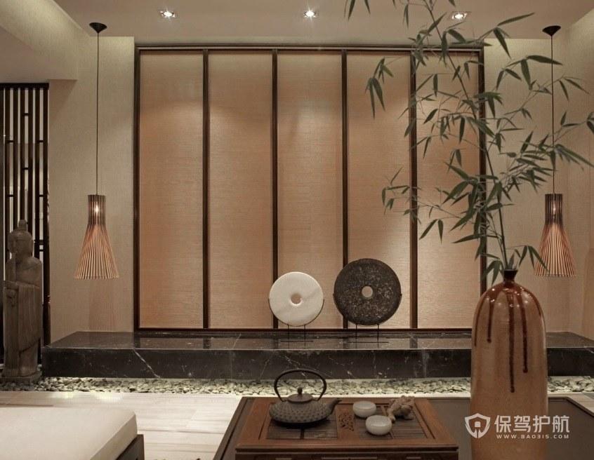 日式古典風客廳屏風背景墻裝修效果圖