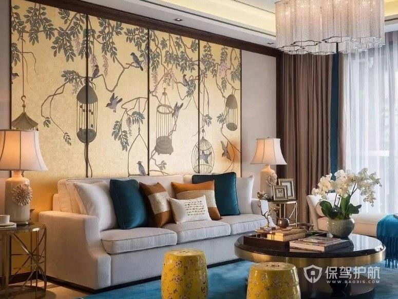 新中式混搭風客廳屏風背景墻裝修效果圖