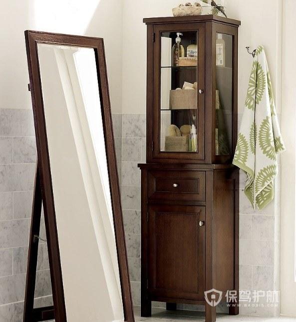 衛生間中式實木框穿衣鏡裝修效果圖