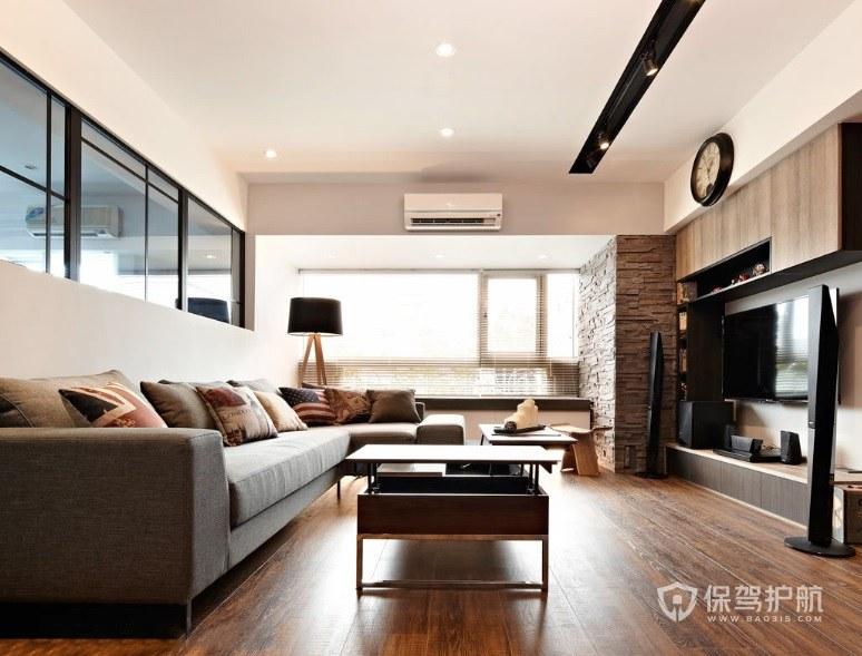 日式客廳胡桃木色背景墻裝修效果圖