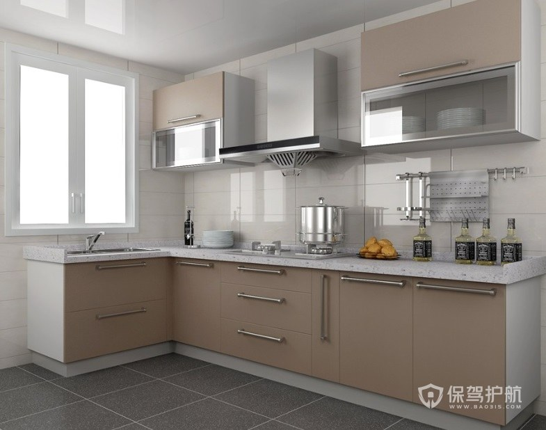 現代簡約風廚房香檳色壁柜裝修效果圖…