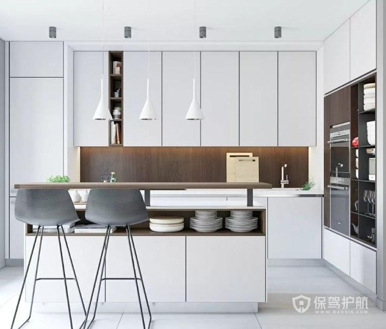 美式極簡風廚房白色壁柜裝修效果圖