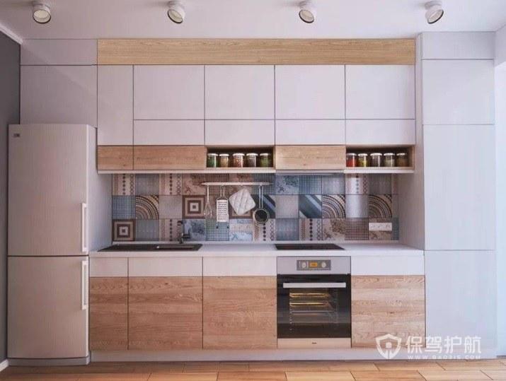 簡約風廚房白+淺木色壁柜裝修效果圖…