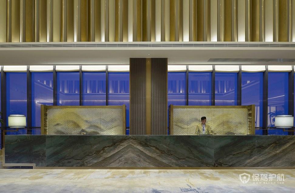 豪華現代風格酒店前臺裝修效果圖