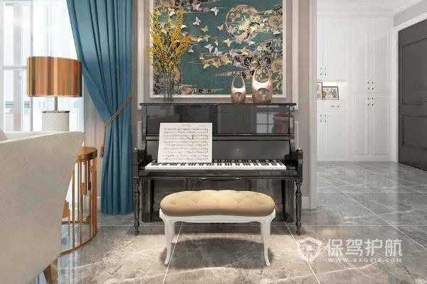 客廳鋼琴區域裝修效果圖-保駕護航裝修網