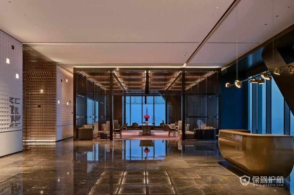 中式古典風格酒店大堂裝修效果圖