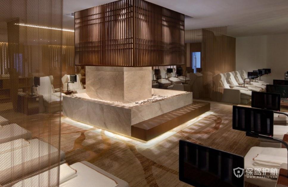 中式溫泉度假酒店休閑室裝修效果圖