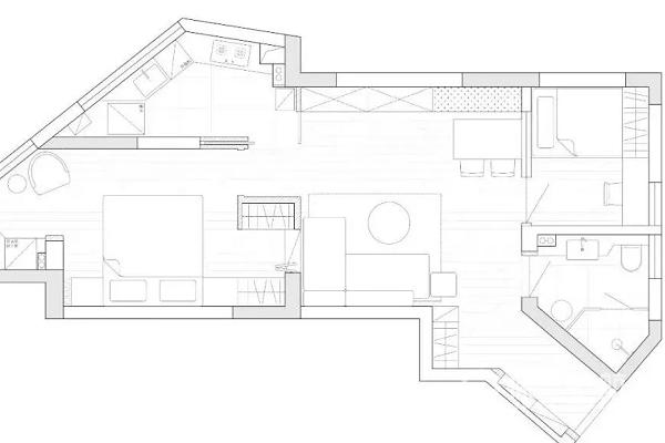 65m2異形戶型要怎樣設計?65m2室內裝修異形圖