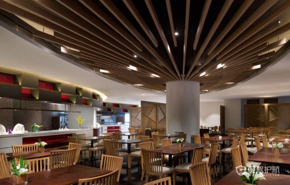 新中式溫泉度假酒店自助餐廳裝修效果…