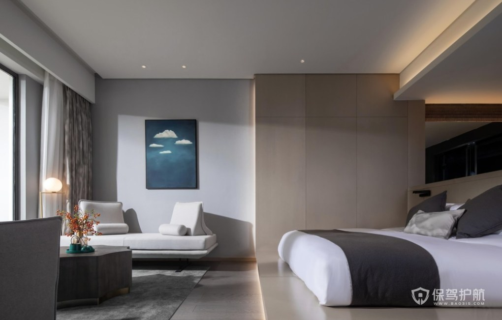 新中式禪意風格酒店客房裝修效果圖